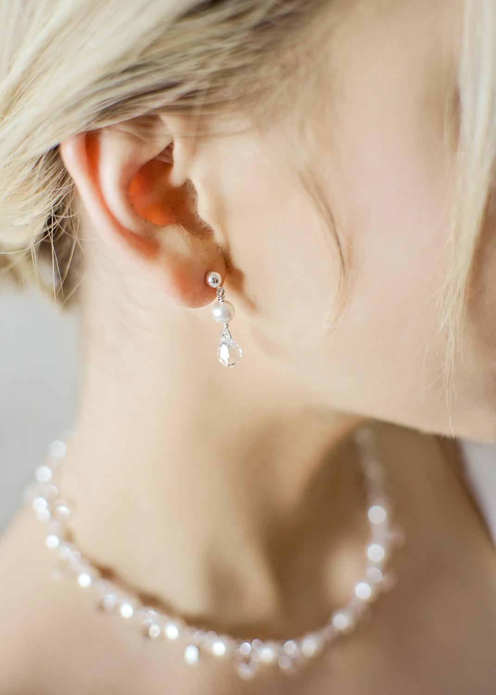 Wedding earrings Gouttes perles