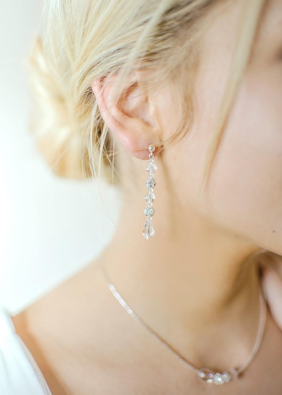 Sparkle bridal earrings (long)