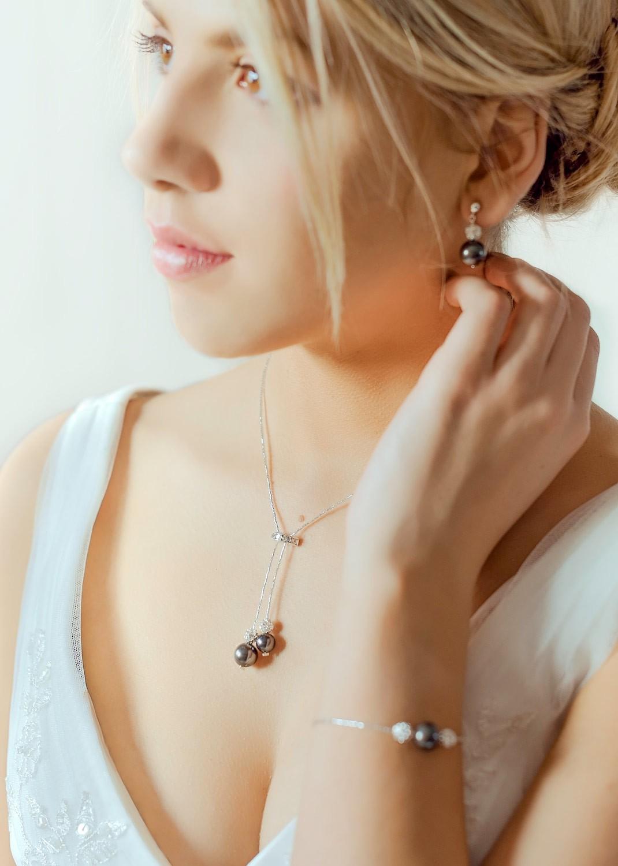 Charlotte black bridal necklace