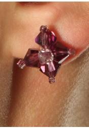 Wedding earrings Camélia mauve