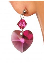 Wedding earrings Coeur d'amour pink