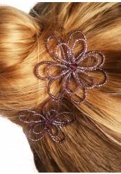 Wedding hair pins Camélia mauve