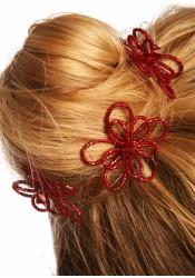 Wedding hair pins Flora burgundy