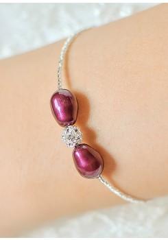 Bracelet mariée Anna aubergine