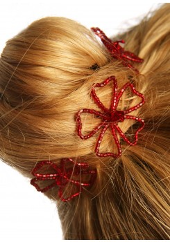 Wedding hair pins Angélique burgundy