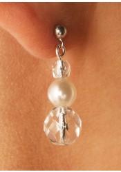 Cascade silver bridal earrings