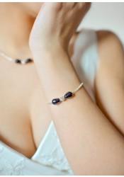 Anna black bridal bracelet