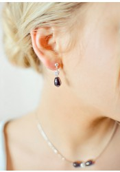 Anna black bridal earrings